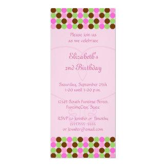 Pink Polka dot Girls Birthday Party Invitation