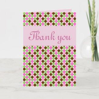 Pink Polka dot girls Thank you greeting card card