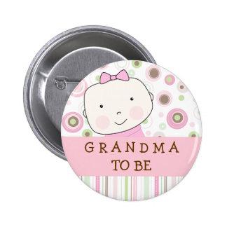 """Pink Polka Dot - """"Grandma to Be"""" Pin"""