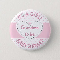 Pink Polka Dot GrandmaTo Be Its a Girl Pin