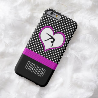 Pink Polka-Dot Gymnastics with heart Barely There iPhone 6 Case