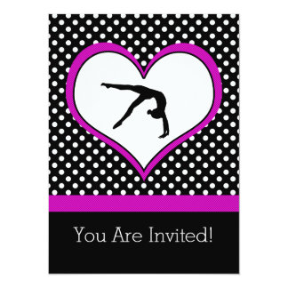 Pink Polka-Dot Gymnastics with heart Card
