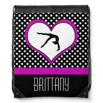 Pink Polka-Dot Gymnastics with heart Drawstring Backpack