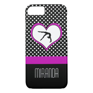 Pink Polka-Dot Gymnastics with heart iPhone 8/7 Case