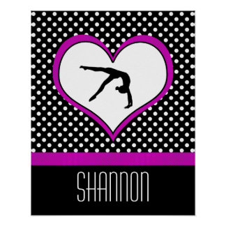 Pink Polka-Dot Gymnastics with heart Poster