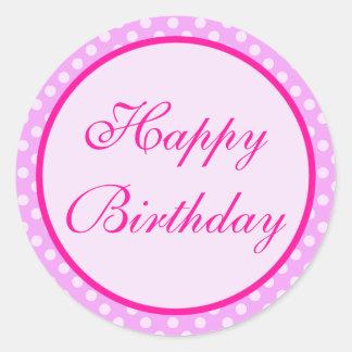 Pink Polka Dot Happy Birthday Sticker