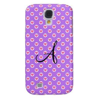 Pink polka dot hearts purple monogram galaxy s4 case