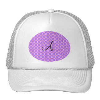 Pink polka dot hearts purple monogram trucker hat