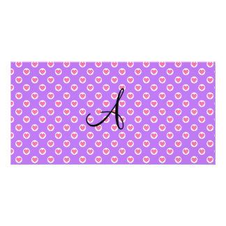 Pink polka dot hearts purple monogram personalized photo card