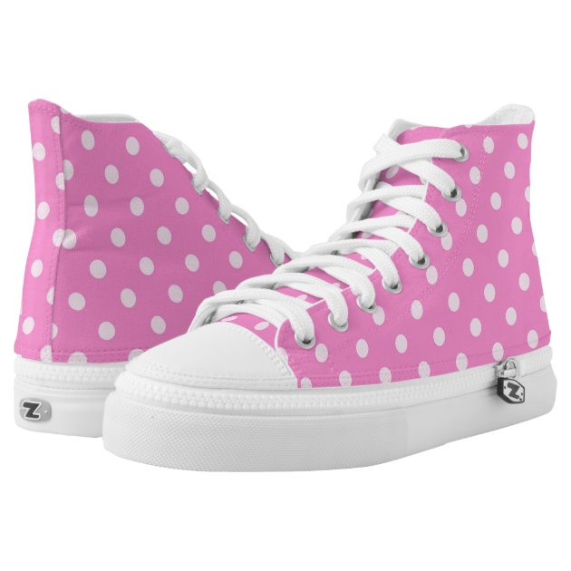pink polka dot high top zipz 174 printed shoes zazzle