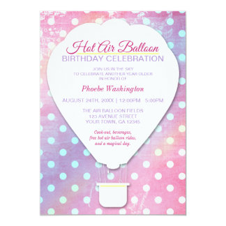 Pink Polka Dot Hot Air Balloon Birthday Invitation