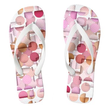 Beach Themed Pink Polka Dot Jumble Pattern Flip Flops