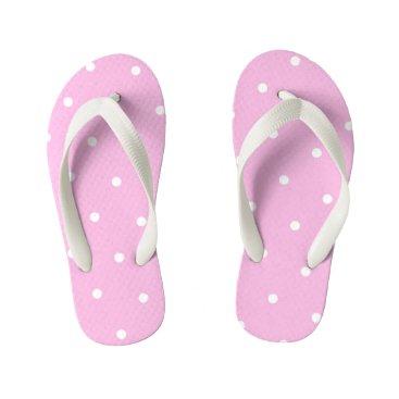 Beach Themed Pink Polka Dot Kids Flip Flops