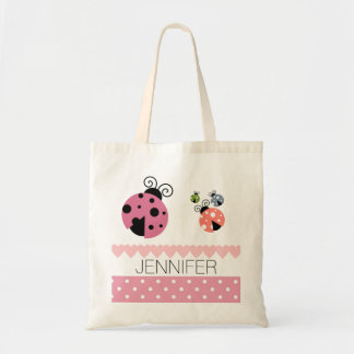 Pink Polka Dot Ladybug Heart Book Bag