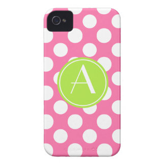 Pink Polka Dot Lime Circle Monogram iPhone 4 Cases