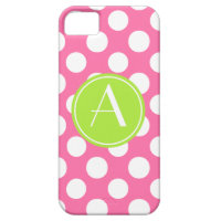Pink Polka Dot Lime Circle Monogram iPhone SE/5/5s Case