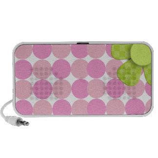 Pink Polka Dot Mini Speaker with Green Flower