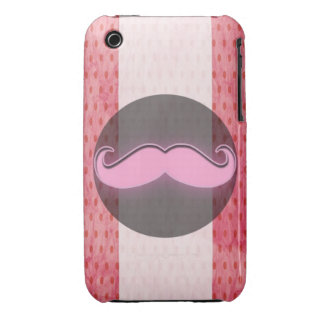 Pink polka dot mustache Case-Mate iPhone 3 cases
