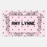 Pink Polka Dot Name Stickers