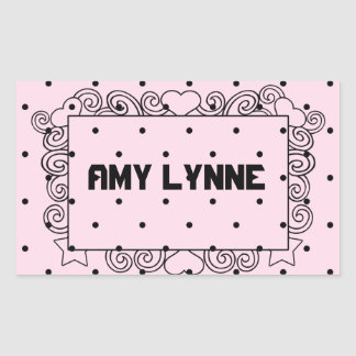 Pink Polka Dot Name Stickers