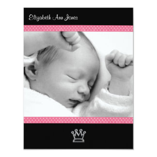 Pink Polka Dot on Black Baby Girl Announements Card