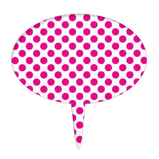 Pink Polka Dot on White (Large) Cake Toppers