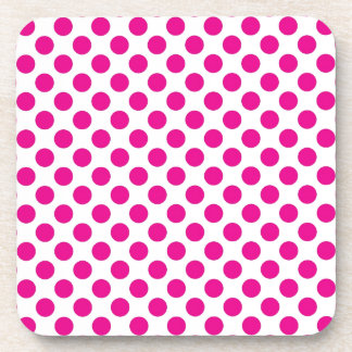 Pink Polka Dot on White (Large) Drink Coaster