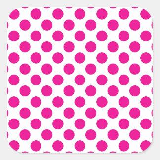 Pink Polka Dot on White (Large) Square Sticker