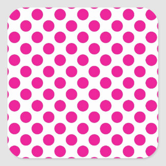 Pink Polka Dot on White (Large) Square Stickers