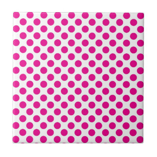 Pink Polka Dot on White (Large) Tile