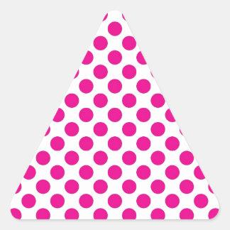 Pink Polka Dot on White (Large) Triangle Sticker
