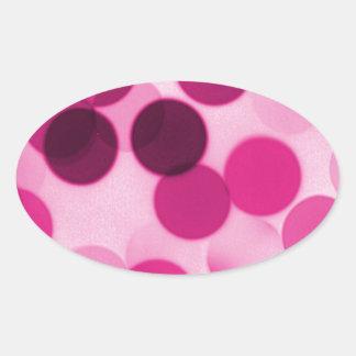 Pink Polka Dot Oval Sticker