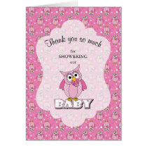 Pink Polka Dot Owl Baby Shower Thank You Card