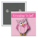 Pink Polka Dot Owl Baby Shower Theme 2 Inch Square Button