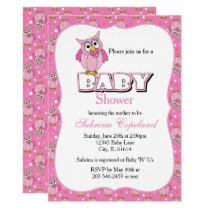 Pink Polka Dot Owl | Baby Shower Theme Card