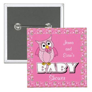Pink Polka Dot Owl | Baby Shower Theme Pinback Button