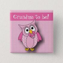 Pink Polka Dot Owl   Baby Shower Theme Pinback Button
