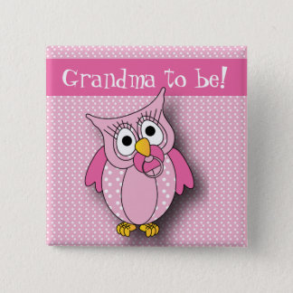 Pink Polka Dot Owl | Baby Shower Theme Pinback Button