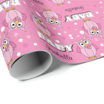 Pink Polka Dot Owl Baby Shower Theme Wrapping Paper