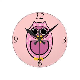 PINK POLKA DOT OWL ROUND CLOCK