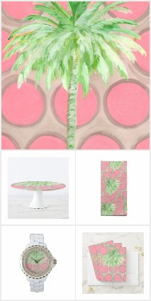 Pink Polka Dot Palm Tree