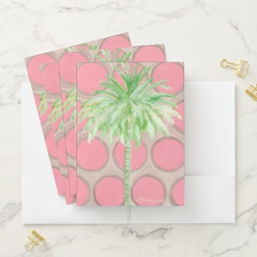 Beach Themed Pink Polka Dot Palm Tree Folder