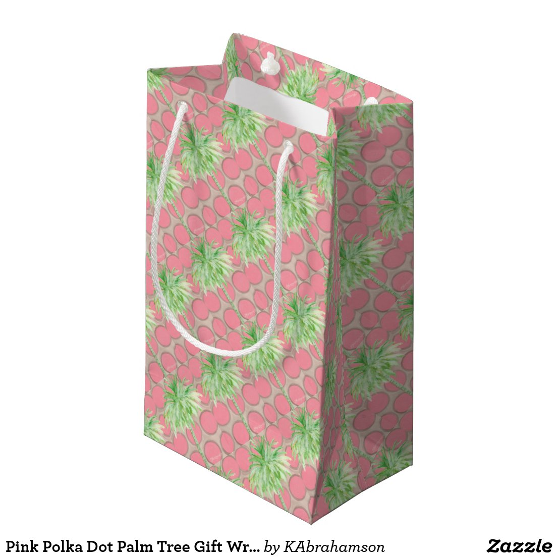 Pink Polka Dot Palm Tree Gift Wrap Small Gift Bag