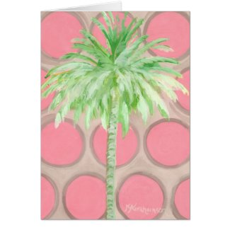 Pink Polka Dot Palm Tree Note Card