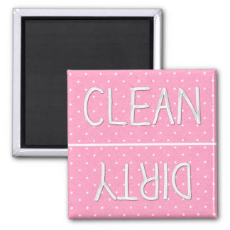 Pink Polka Dot Paper Clean Dirty 2 Inch Square Magnet