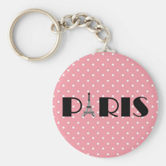 Pink Polka Dot Paris Eiffel Tower Keychain