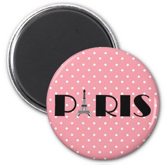 Pink Polka Dot Paris Eiffel Tower Magnet