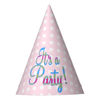 Pink Polka Dot Party Hats, It's a Party! Party Hat