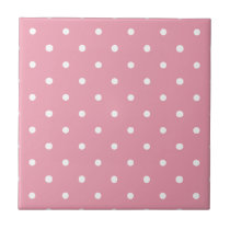 Pink Polka Dot Pattern Ceramic Tile