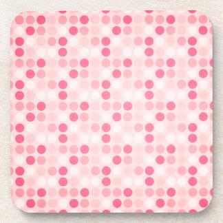 Pink Polka Dot Pattern Drink Coaster
